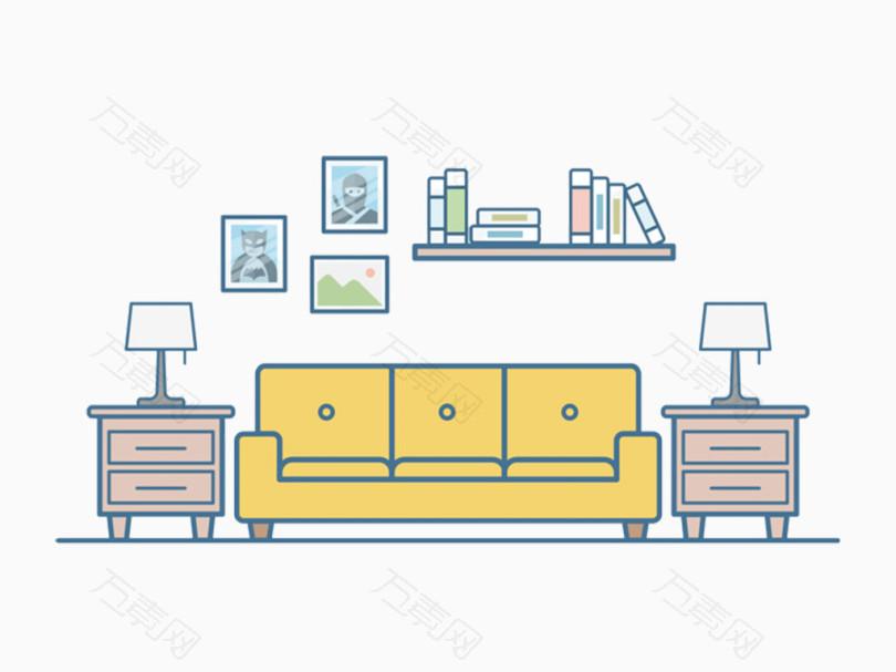 手绘简约书房客厅沙发场景