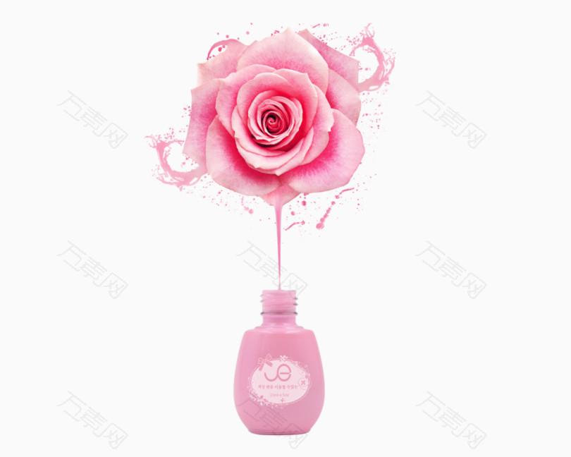 指甲油海报粉色玫瑰素材