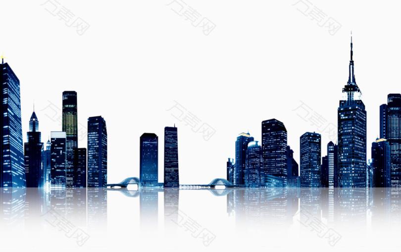 深蓝色现代城市建筑群夜景素材