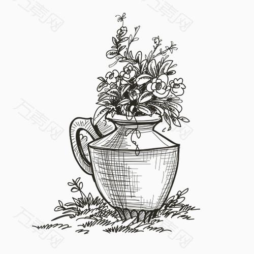卡通手绘花瓶鲜花