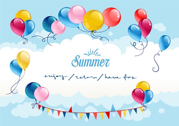夏季天空气球矢量