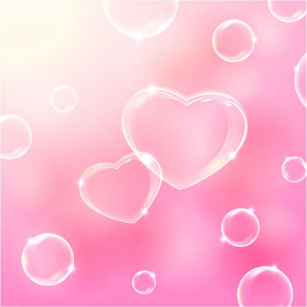 透明爱心气泡背景
