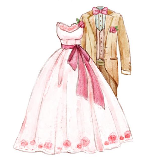 水彩绘婚纱和西服