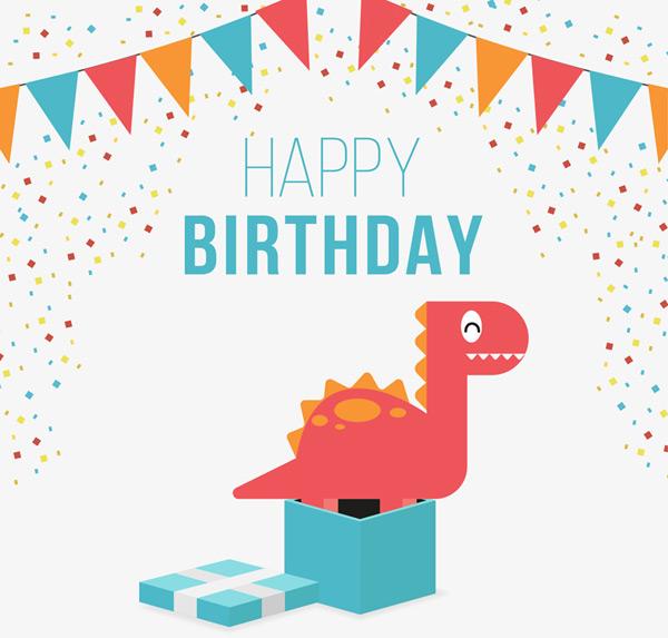 可爱恐龙生日贺卡
