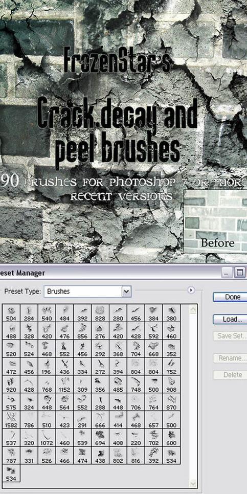 91个破裂墙砖墙面ps笔刷图片