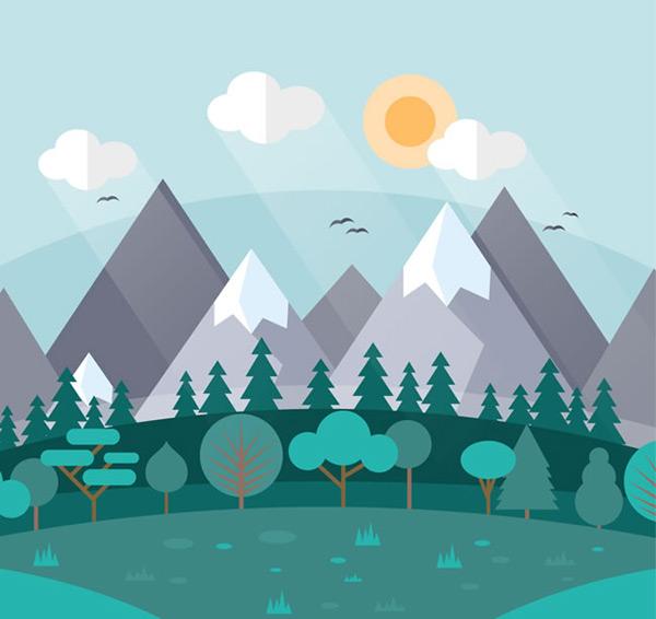 雪山与森林风景