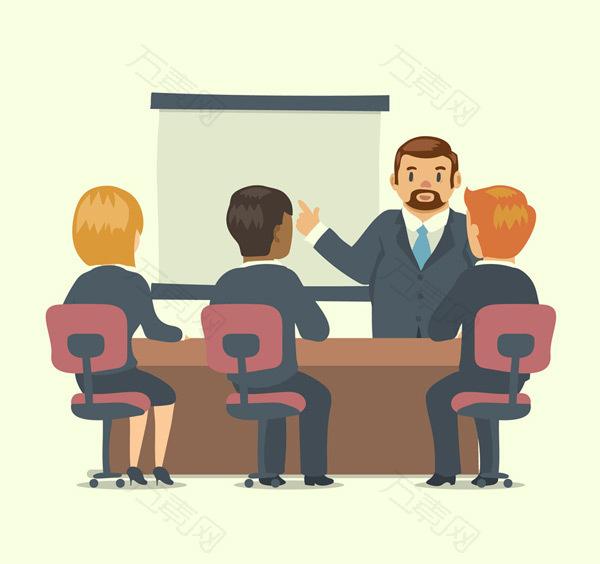 卡通商务会议人物
