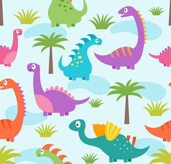 恐龙和植物背景
