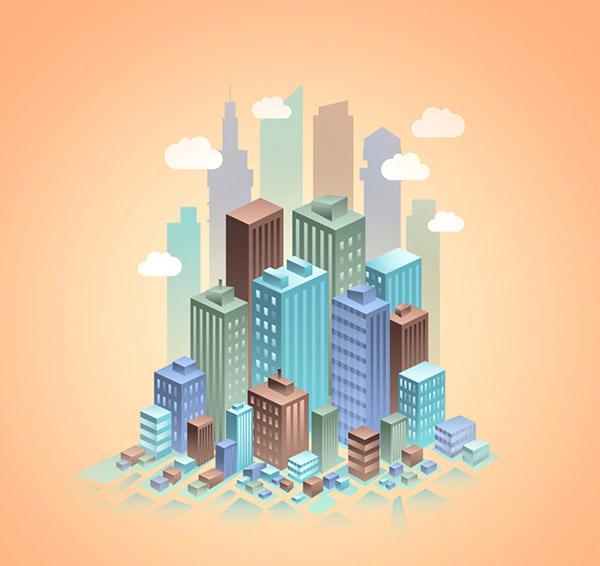 3D都市楼群矢量