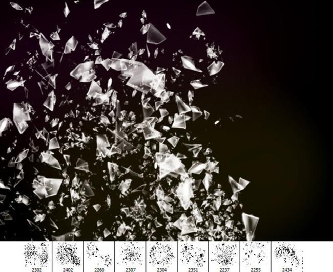 高清晰玻璃碎片爆炸效果笔刷