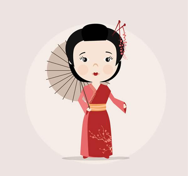 撑伞的日本女子