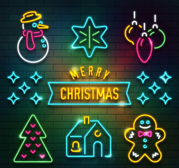 圣诞元素霓虹灯