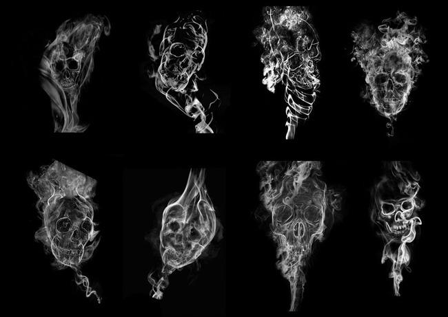 8款骷髅头烟雾效果PS笔刷