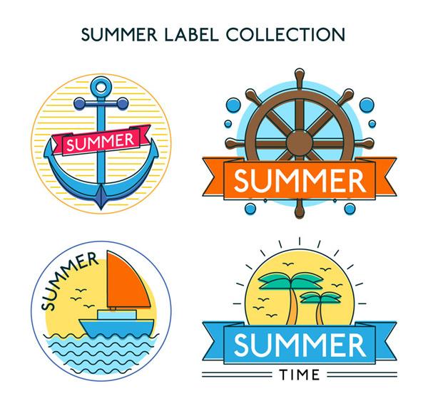 彩色夏季标签